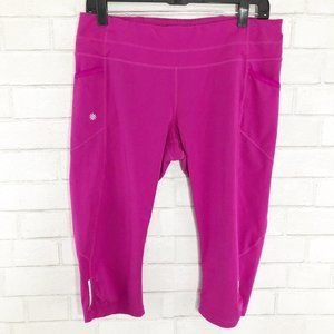 Athleta Hot Pink Capri Leggings, Size Large